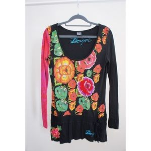Desigual Long Sleeve Embroidered Floral Graphic